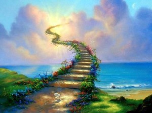 colorful stairwell going upwards into the clouds