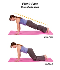full plank pose and modified plank pose
