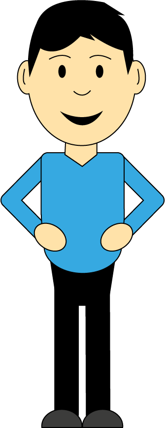 smiling cartoon man with hands on hips